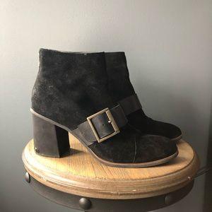 Korkease black leather heeled boots